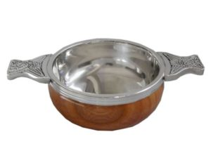 Pewter quaich with wooden bowl