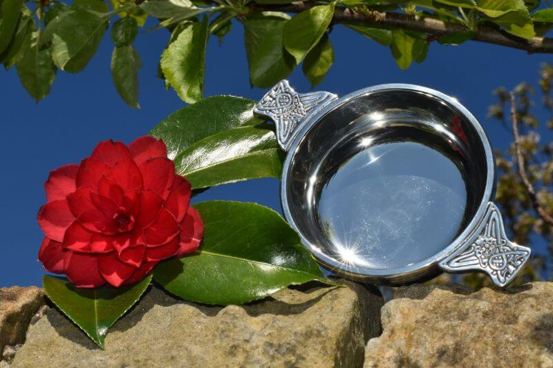 Pewter quaich with solid celtic handles