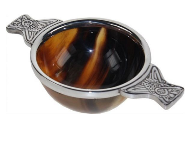 Horn and pewter quaich