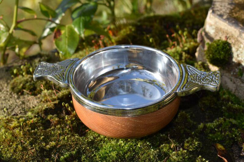 Pewter quaich with elm bowl